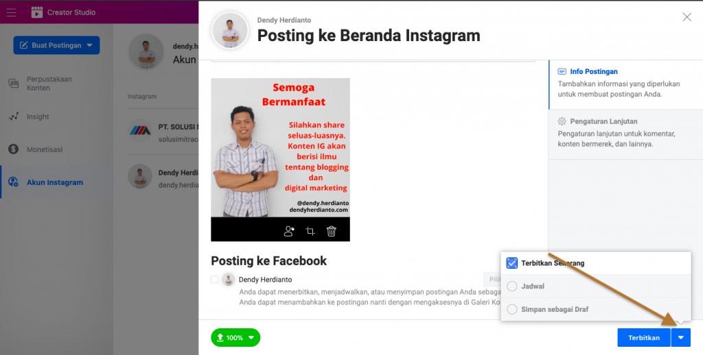 Posting Instagram di PC